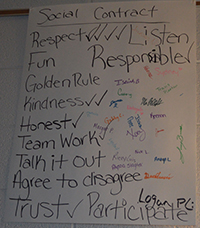 Students sign a social contract stating their values