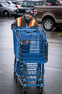 Michael Taylor's primary job at Meijer is collecting carts