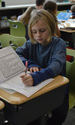 A Byron Center Public Schools elementary student works on a reading activity