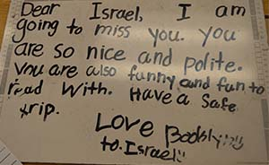 Students wrote good-bye letters to Israel