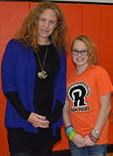 Dr. Beverly Goodman with seventh-grader Mackenzie Johnson, who was inspired by Goodman's talk