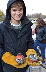 Tanner Barnes shows his raku creations
