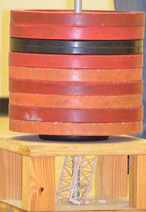 "Balsa-wood structure, seen underneath a ""crusher board"""