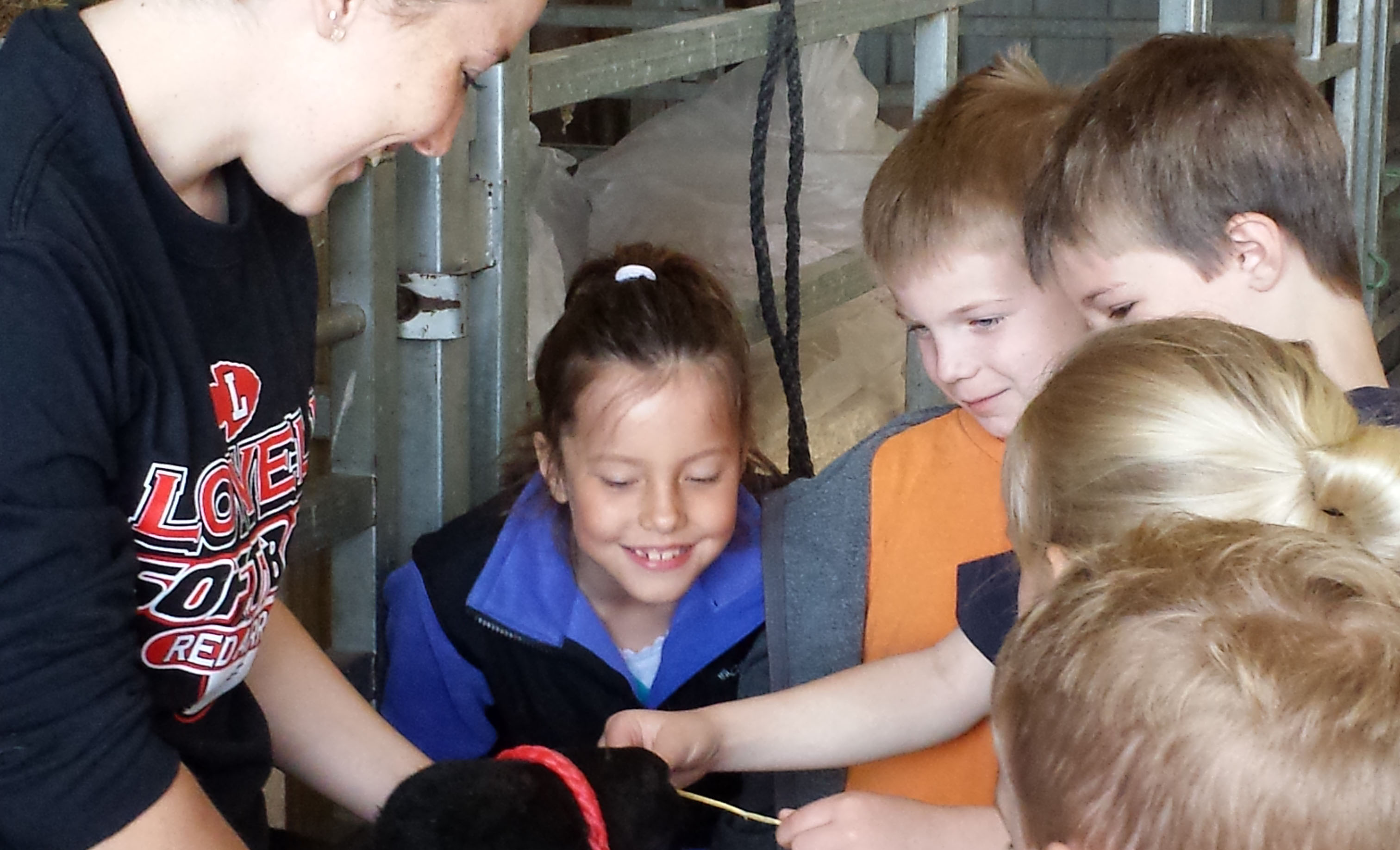 Lowell FFA student Olivia Kauffman shows a lamb to first-graders from Murray Lake Elementary School at the Wittenbach/Wege Center