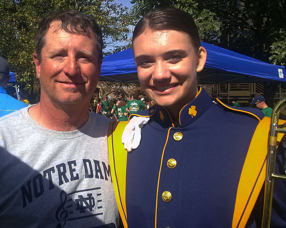 Thornapple Kellogg High School band director Ray Rickert went to watch Alicia Czarnecki perform in the Notre Dame Marching Band earlier this year
