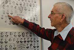 Roger VanLaan points out his 1939 graduation picture