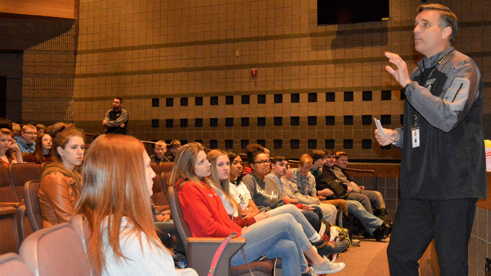 High school Principal Brett Zuver addressed sexual harassment and abuse in his weekly talks on student leadership