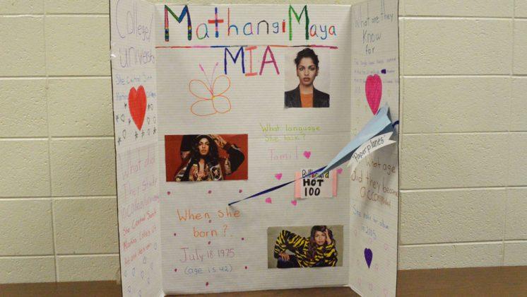 """Students created in-depth research pieces on American figures who come from immigrant and refugee backgrounds, like Mathangi """"Maya"""" Arulpragasam, or """"M.I.A."""