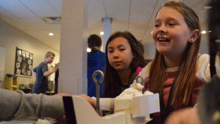 For the egg projectile assignment called Eggbert Crash Landing, fifth-graders Montana Baker, left, and Kaelyn Bell assembled protective padding around their raw egg