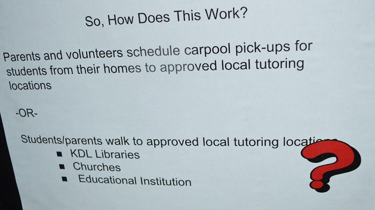 How would this work? Parents and volunteers schedule carpool pick-ups for students from their homes to approved local tutoring locations.