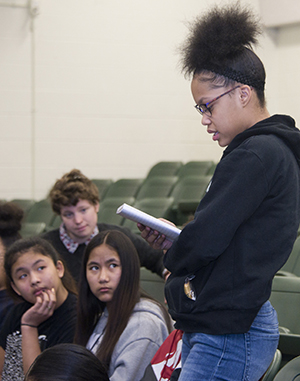 Valleywood student Chrissy Turnbull reads her poetry at a workshop led by The Diatribe