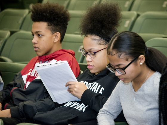 From left, Kenny Blevins, Chrissy Turnbull and Esther Hoih were among Jane VanHof's students at the poetry workshop
