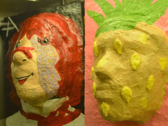 Masks created last semester by students Lilly Harrison and Lauren Peoples