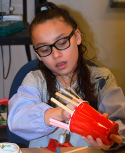 Samati Martinez, a Kenowa Hills Alpine Elementary student, can now show people how to make a robot