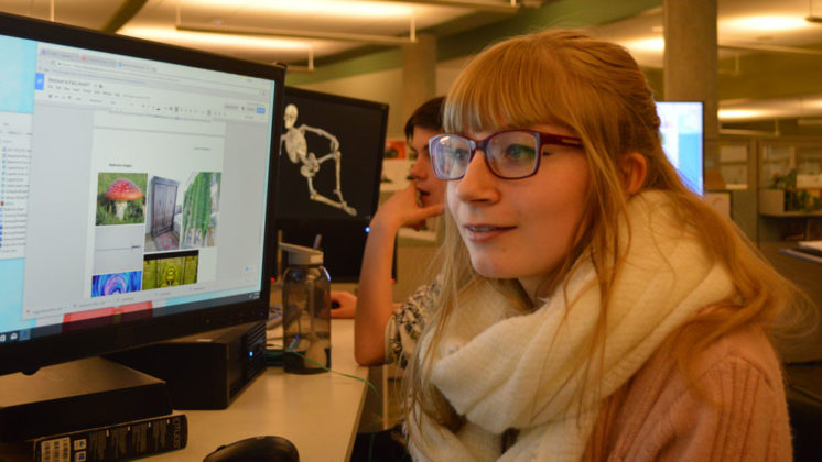 Leanne Imkamp, Sparta High School senior, is creating a series of panels for the animated storyboard for the class' virtual reality autism project