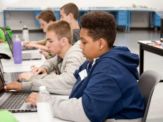 DeKeith Dandridge, ninth grade, Valleywood; Xavier Butler, eighth grade, Pinewood Middle; Eli Luyckz, ninth grade, Forest Hills Central High, work on design ideas