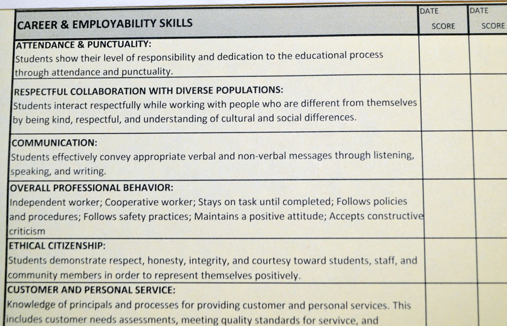 Employers complete periodic evaluations of student employees, which Lewis reviews with them and with students