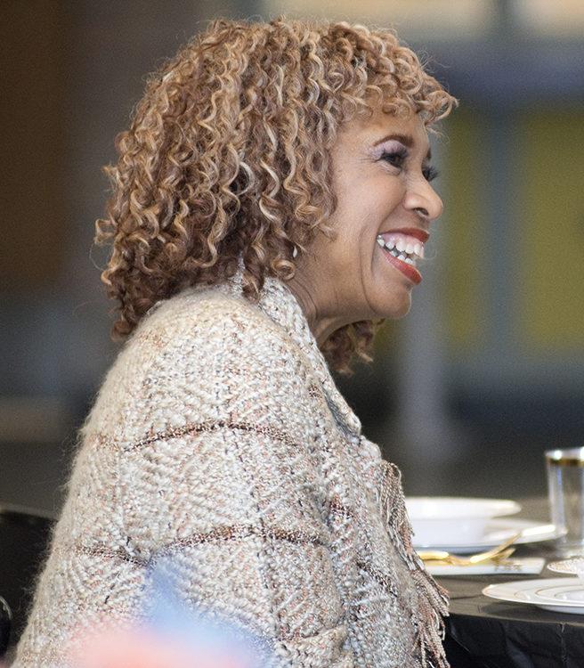 Burton School counselor Pamela Hamilton-Hull enjoys a Q&A about Africa