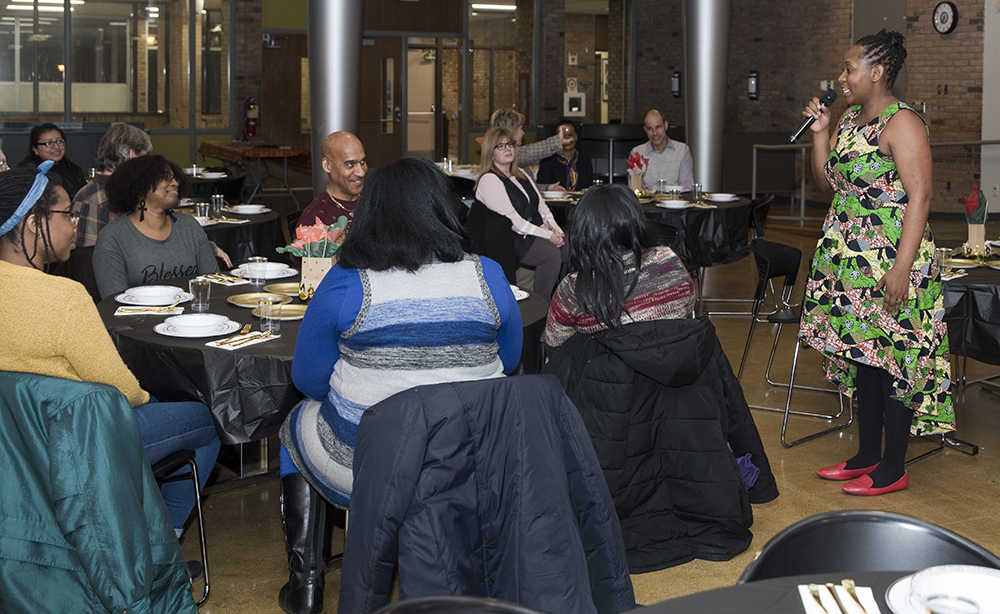 Banin Experience performer Myra Maimoh enjoys talking to GRPS staff members