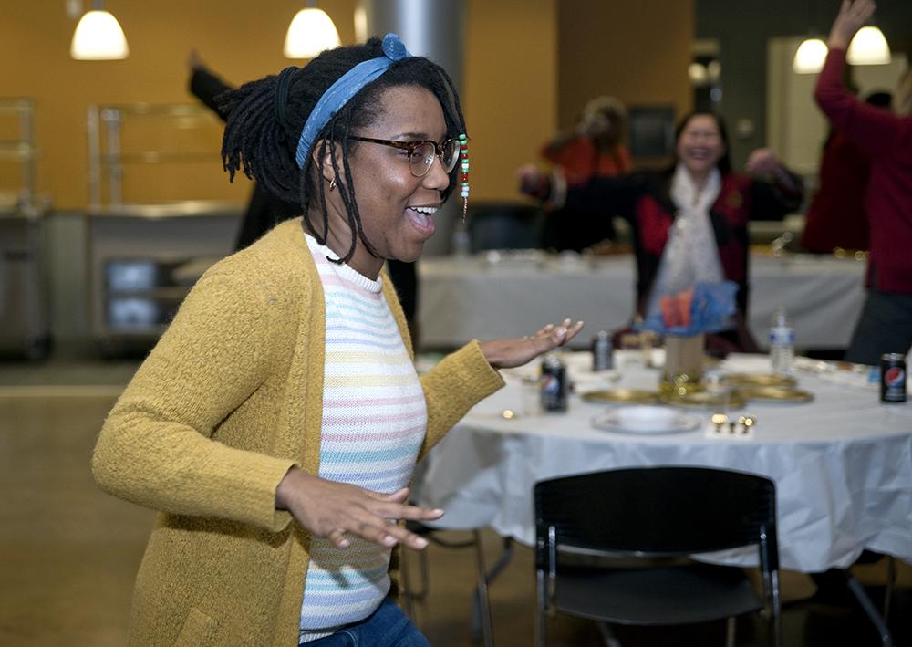 Burton Elementary third grade teacher Teeoncey Sanders feels the African groove