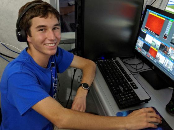 Evan at the stadium controls