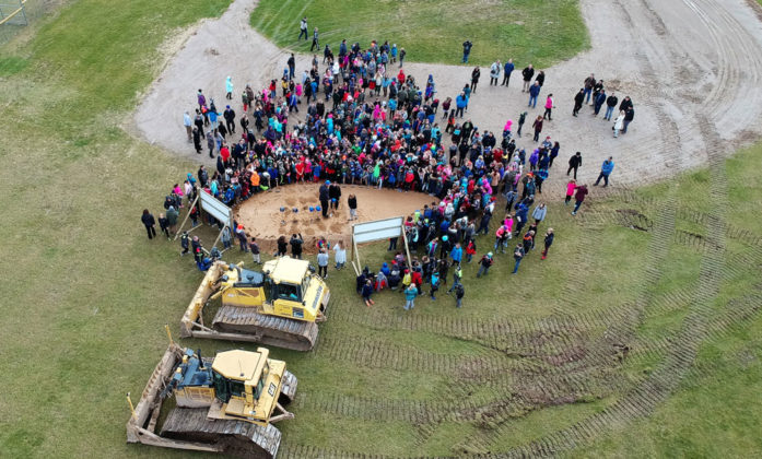 Evan supplied this drone photo for the Sparta Middle School groundbreaking ceremony