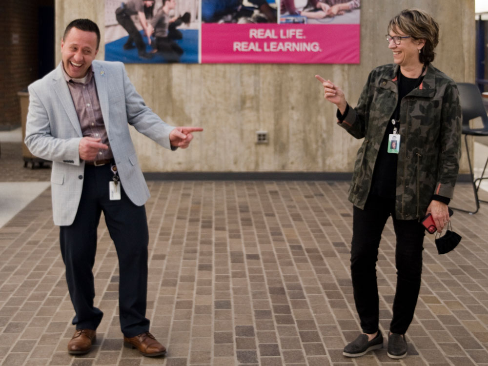 Ryan Graham, principal of KCTC and Sue Gardner, assistant superintendent for secondary programs, celebrate the success of the Virtual Open House