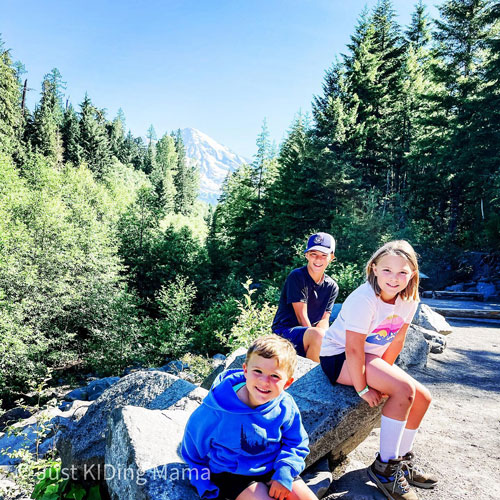 The Priem family got an unobstructed view of the elusive Mount Rainier in Washington State